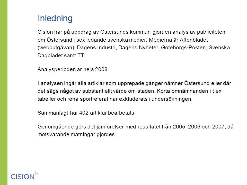 Inledning Cision har på uppdrag av Östersunds kommun gjort en analys av publiciteten om Östersund i sex ledande svenska medier.