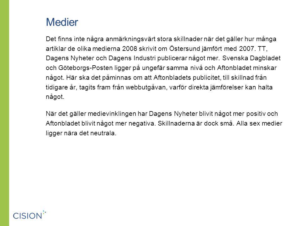 Medier Det finns inte några anmärkningsvärt stora skillnader när det gäller hur många artiklar de olika medierna 2008 skrivit om Östersund jämfört med 2007.