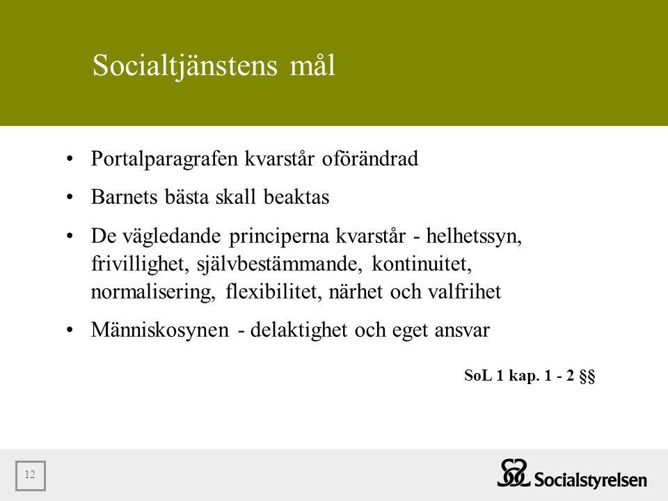 12 Socialtjänstens mål •Portalparagrafen kvarstår oförändrad •Barnets bästa skall beaktas •De vägledande principerna kvarstår - helhetssyn, frivilligh