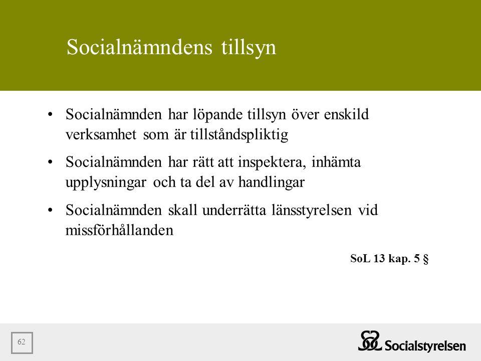62 Socialnämndens tillsyn •Socialnämnden har löpande tillsyn över enskild verksamhet som är tillståndspliktig •Socialnämnden har rätt att inspektera,