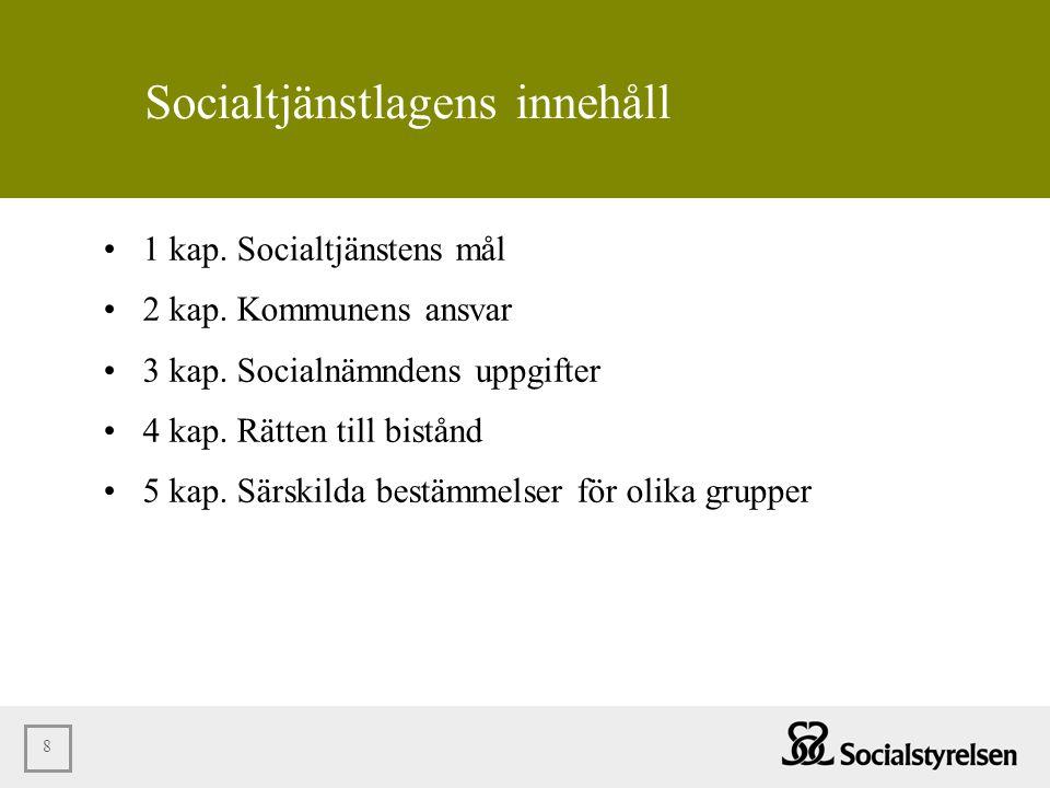 8 Socialtjänstlagens innehåll •1 kap. Socialtjänstens mål •2 kap. Kommunens ansvar •3 kap. Socialnämndens uppgifter •4 kap. Rätten till bistånd •5 kap