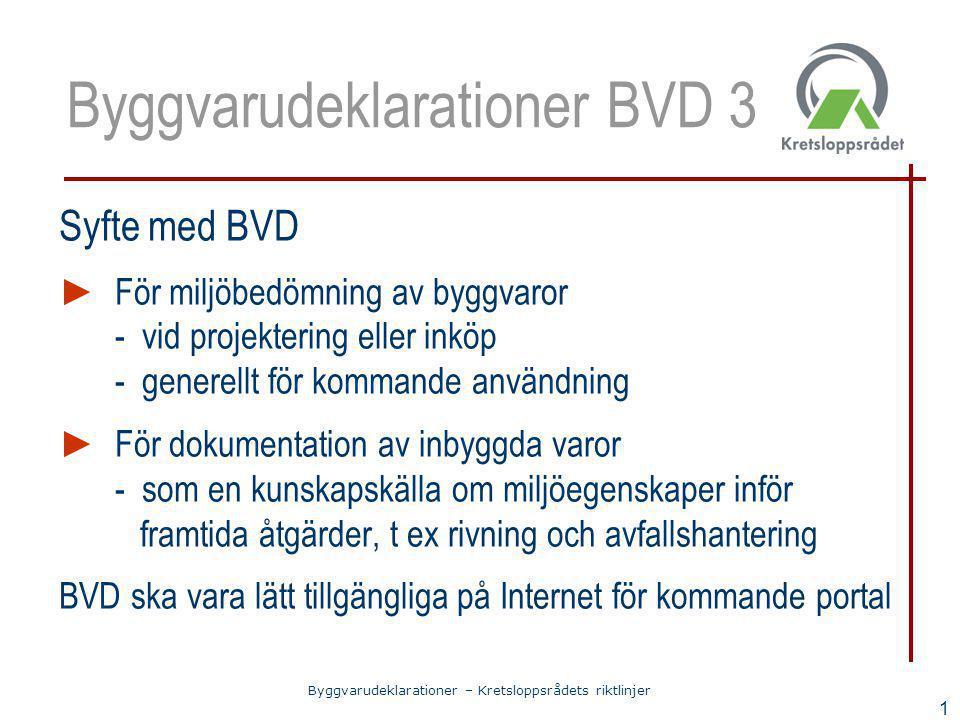 Byggvarudeklarationer – Kretsloppsrådets riktlinjer 1 Byggvarudeklarationer BVD 3 Syfte med BVD ► För miljöbedömning av byggvaror - vid projektering e