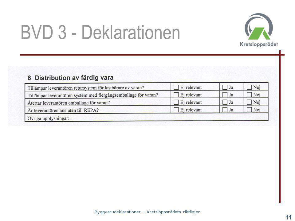 Byggvarudeklarationer – Kretsloppsrådets riktlinjer 11 BVD 3 - Deklarationen