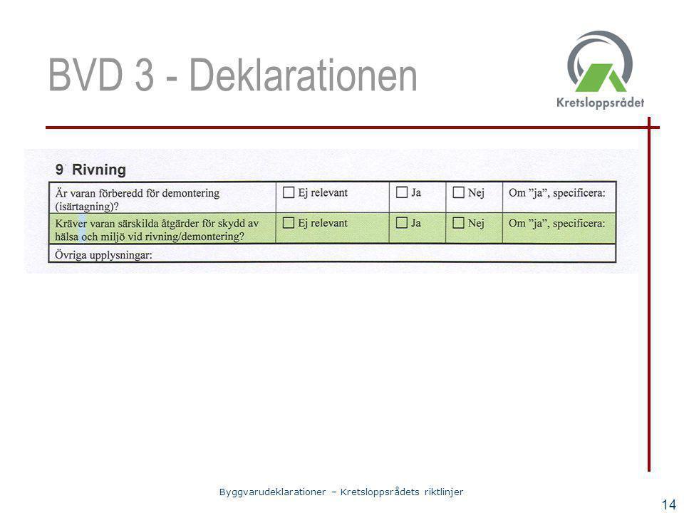 Byggvarudeklarationer – Kretsloppsrådets riktlinjer 14 BVD 3 - Deklarationen