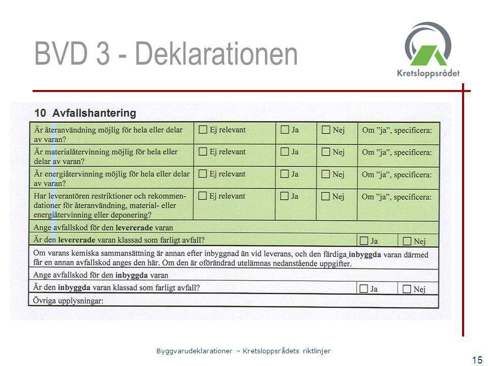 Byggvarudeklarationer – Kretsloppsrådets riktlinjer 15 BVD 3 - Deklarationen