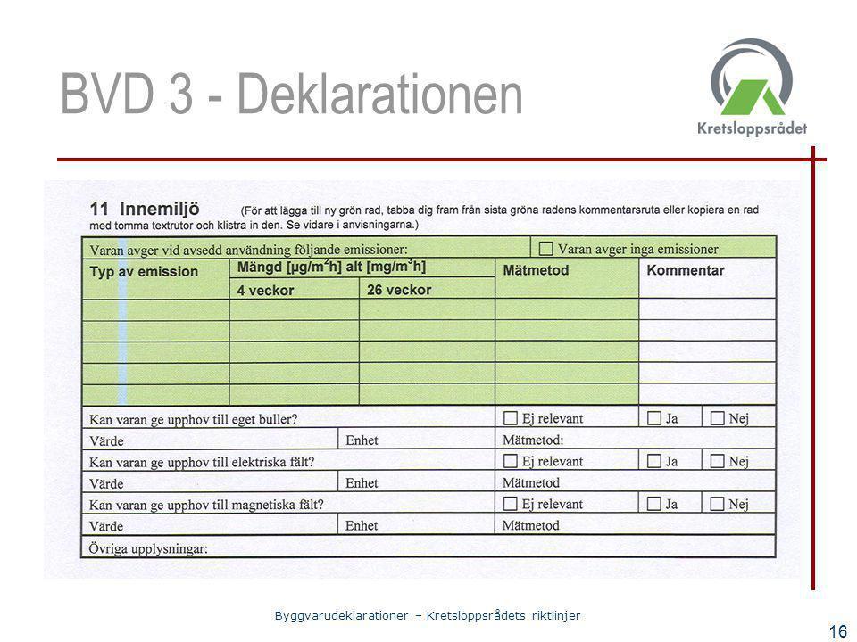 Byggvarudeklarationer – Kretsloppsrådets riktlinjer 16 BVD 3 - Deklarationen