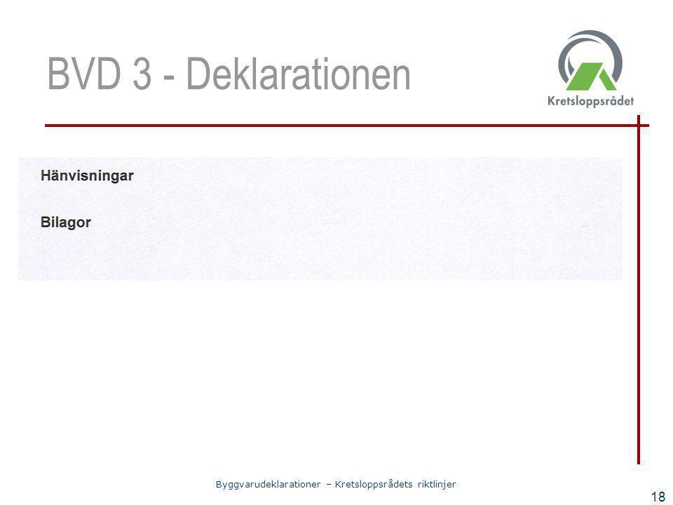 Byggvarudeklarationer – Kretsloppsrådets riktlinjer 18 BVD 3 - Deklarationen