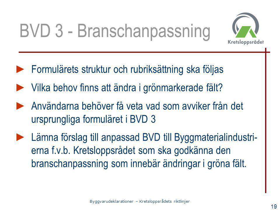 Byggvarudeklarationer – Kretsloppsrådets riktlinjer 19 BVD 3 - Branschanpassning ► Formulärets struktur och rubriksättning ska följas ► Vilka behov fi