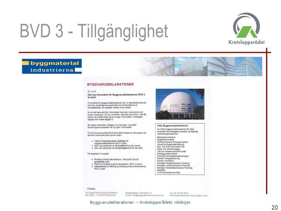 Byggvarudeklarationer – Kretsloppsrådets riktlinjer 20 BVD 3 - Tillgänglighet