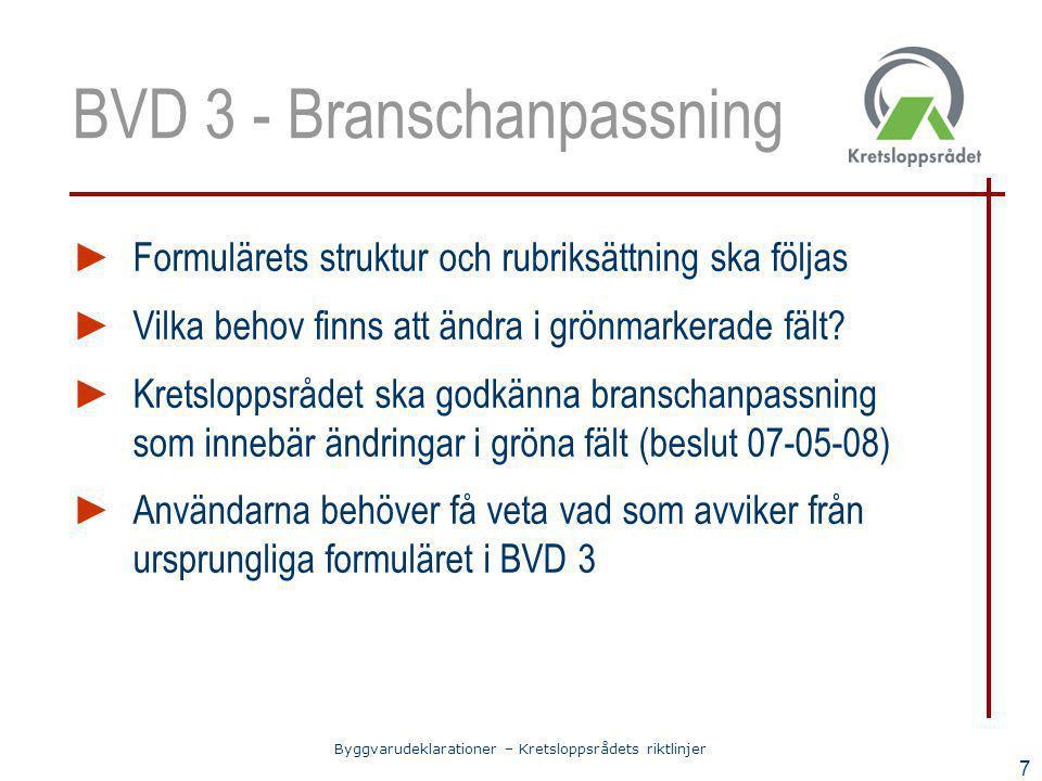 Byggvarudeklarationer – Kretsloppsrådets riktlinjer 7 BVD 3 - Branschanpassning ► Formulärets struktur och rubriksättning ska följas ► Vilka behov fin