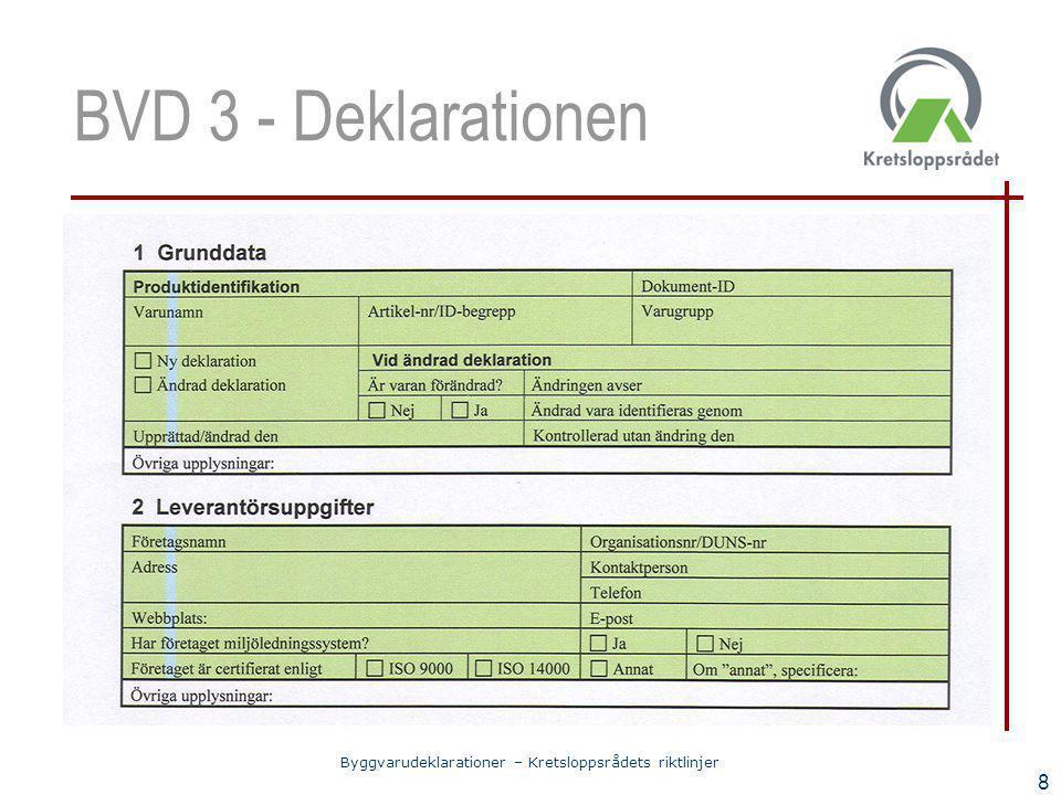 Byggvarudeklarationer – Kretsloppsrådets riktlinjer 8 BVD 3 - Deklarationen
