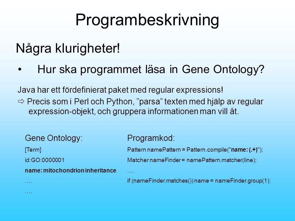 Programbeskrivning •Hur ska programmet läsa in Gene Ontology.