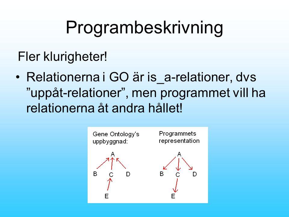 Programbeskrivning •Relationerna i GO är is_a-relationer, dvs uppåt-relationer , men programmet vill ha relationerna åt andra hållet.