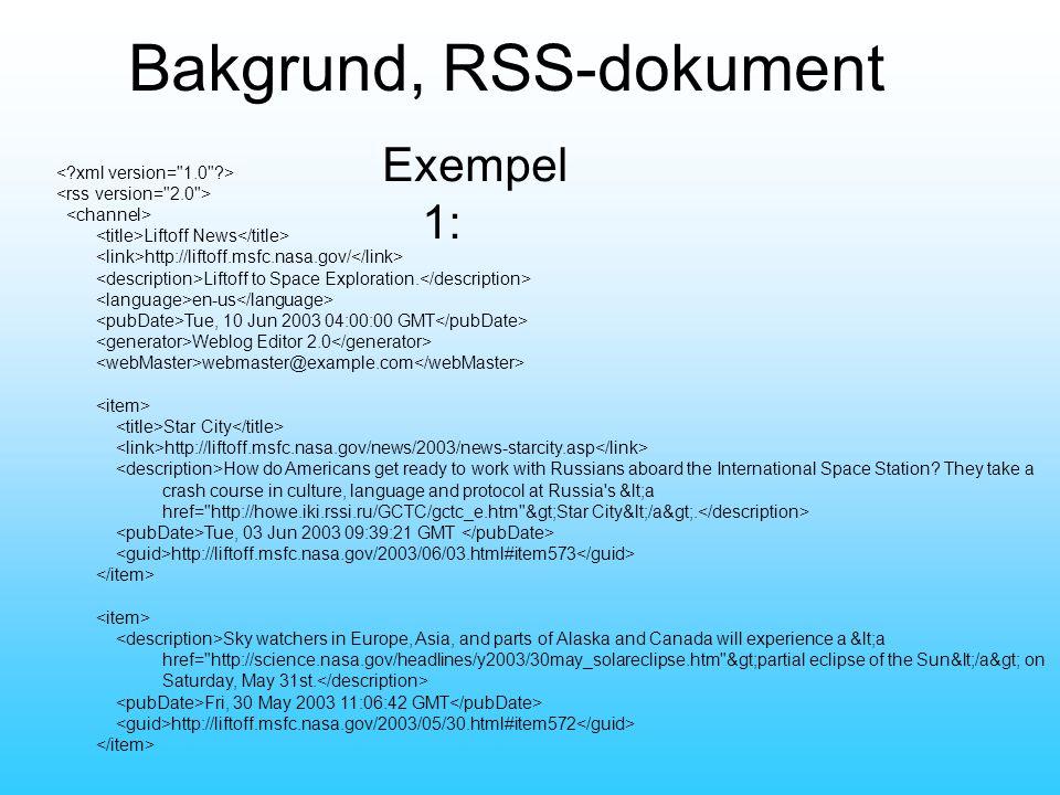 Bakgrund, RSS-dokument Liftoff News http://liftoff.msfc.nasa.gov/ Liftoff to Space Exploration.