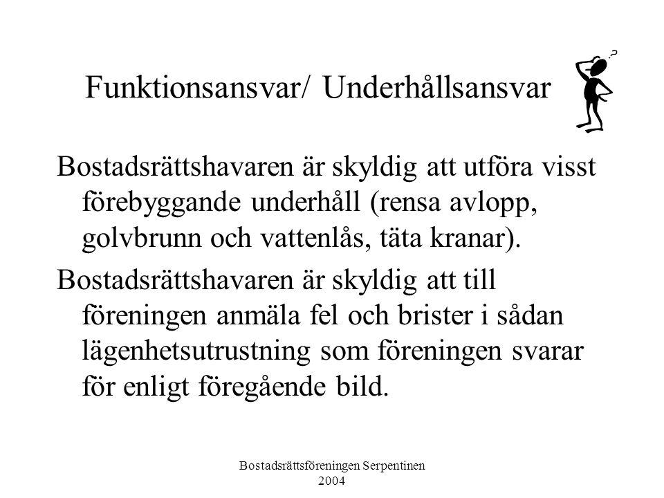 Bostadsrättsföreningen Serpentinen 2004 Funktionsansvar/ Underhållsansvar Bostadsrättshavaren är skyldig att utföra visst förebyggande underhåll (rensa avlopp, golvbrunn och vattenlås, täta kranar).