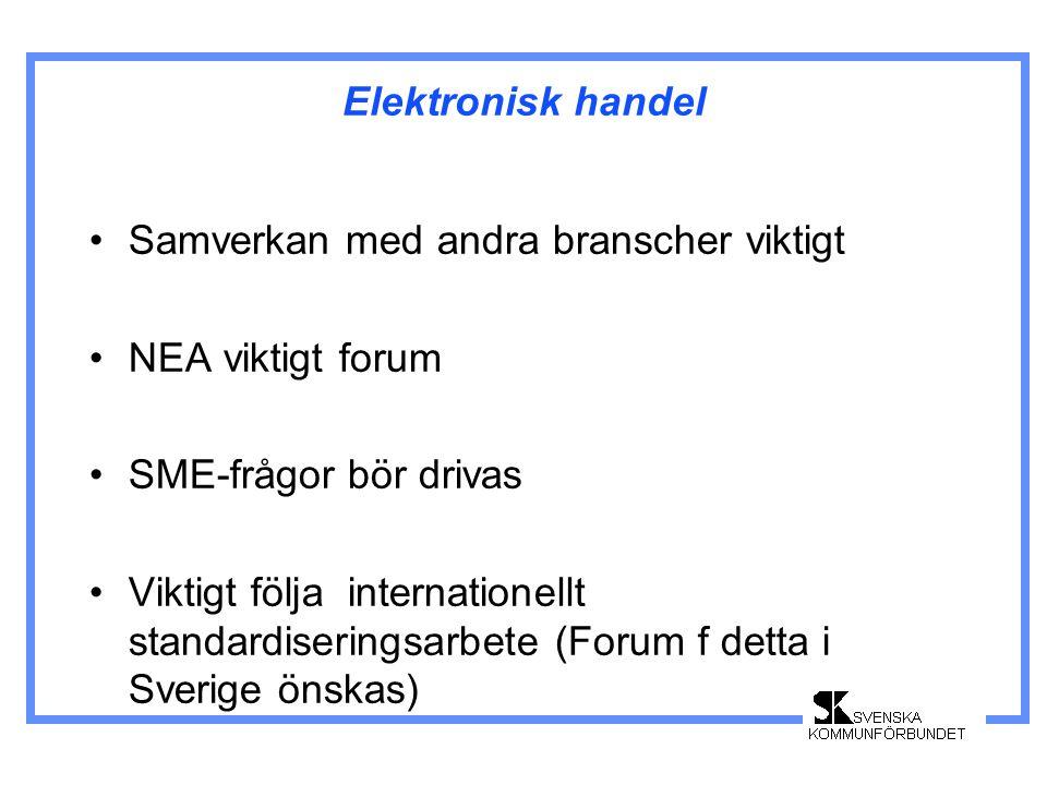 Elektronisk handel •Samverkan med andra branscher viktigt •NEA viktigt forum •SME-frågor bör drivas •Viktigt följa internationellt standardiseringsarbete (Forum f detta i Sverige önskas)