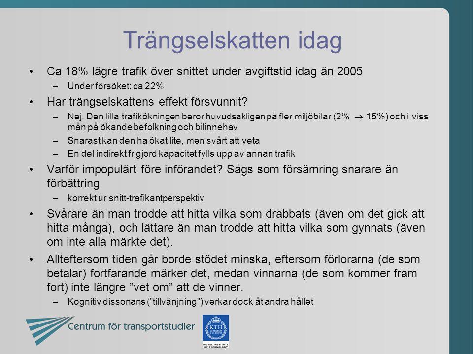 Trängselskatten idag •Ca 18% lägre trafik över snittet under avgiftstid idag än 2005 –Under försöket: ca 22% •Har trängselskattens effekt försvunnit.