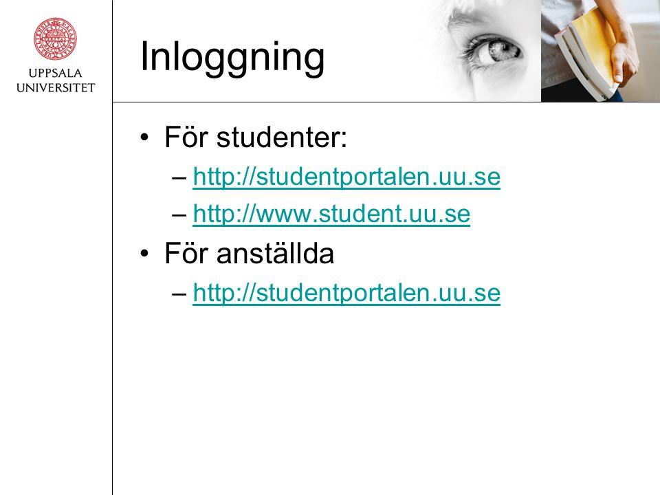 Inloggning •För studenter: –http://studentportalen.uu.sehttp://studentportalen.uu.se –http://www.student.uu.sehttp://www.student.uu.se •För anställda –http://studentportalen.uu.sehttp://studentportalen.uu.se