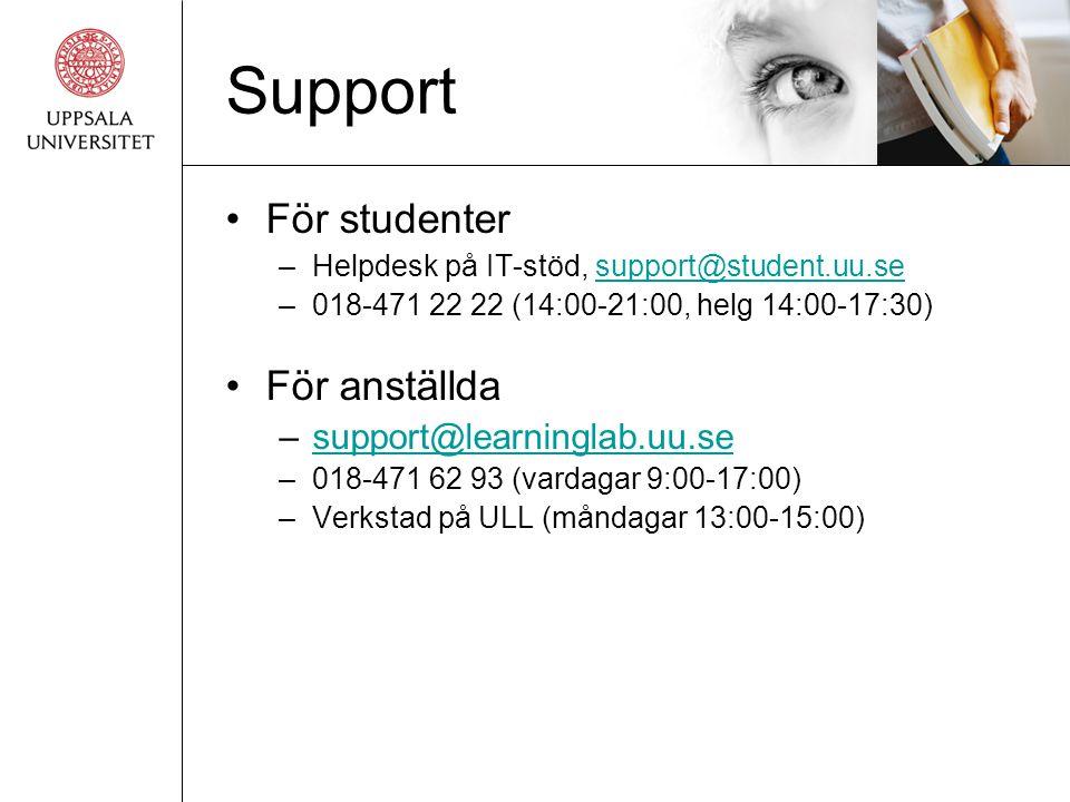 Support •För studenter –Helpdesk på IT-stöd, support@student.uu.sesupport@student.uu.se –018-471 22 22 (14:00-21:00, helg 14:00-17:30) •För anställda –support@learninglab.uu.sesupport@learninglab.uu.se –018-471 62 93 (vardagar 9:00-17:00) –Verkstad på ULL (måndagar 13:00-15:00)