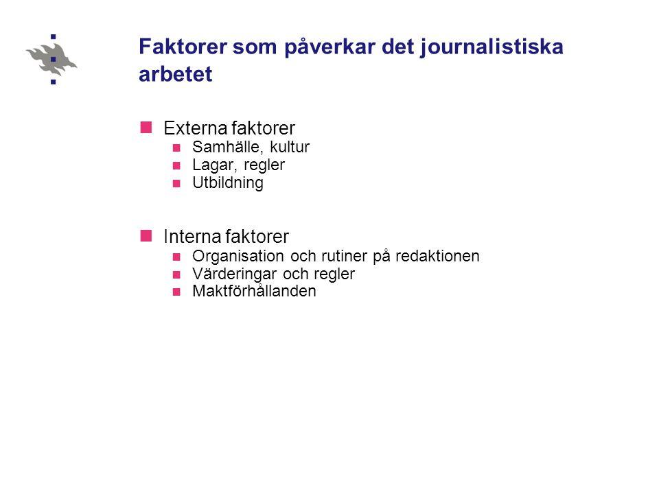 Faktorer som påverkar det journalistiska arbetet  Externa faktorer  Samhälle, kultur  Lagar, regler  Utbildning  Interna faktorer  Organisation