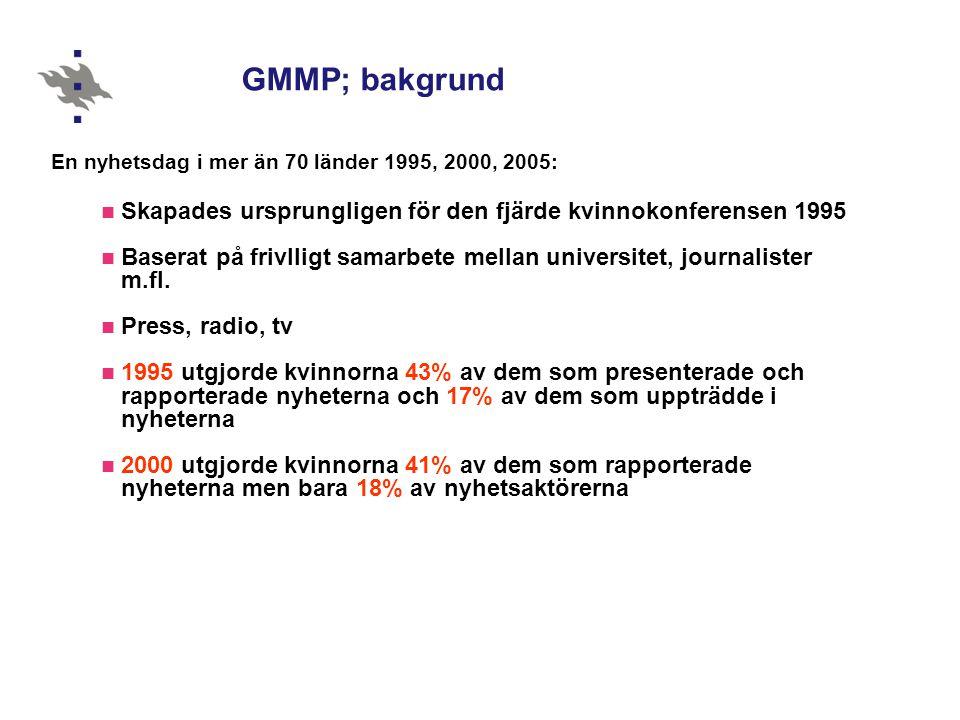 GMMP; bakgrund En nyhetsdag i mer än 70 länder 1995, 2000, 2005:  Skapades ursprungligen för den fjärde kvinnokonferensen 1995  Baserat på frivlligt