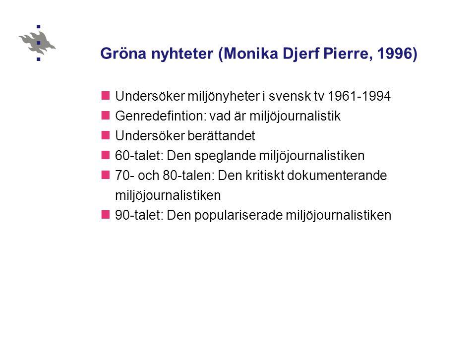 Gröna nyhteter (Monika Djerf Pierre, 1996)  Undersöker miljönyheter i svensk tv 1961-1994  Genredefintion: vad är miljöjournalistik  Undersöker ber