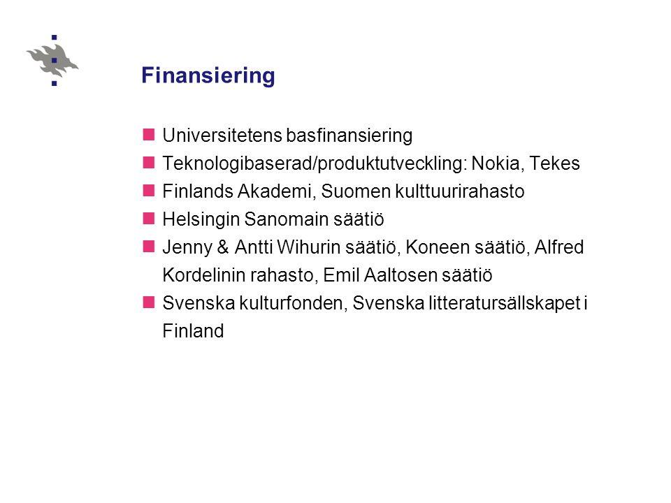 Finansiering  Universitetens basfinansiering  Teknologibaserad/produktutveckling: Nokia, Tekes  Finlands Akademi, Suomen kulttuurirahasto  Helsing