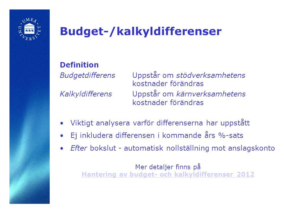 Budget-/kalkyldifferenser Definition BudgetdifferensUppstår om stödverksamhetens kostnader förändras Kalkyldifferens Uppstår om kärnverksamhetens kostnader förändras •Viktigt analysera varför differenserna har uppstått •Ej inkludera differensen i kommande års %-sats •Efter bokslut - automatisk nollställning mot anslagskonto Mer detaljer finns på Hantering av budget- och kalkyldifferenser 2012