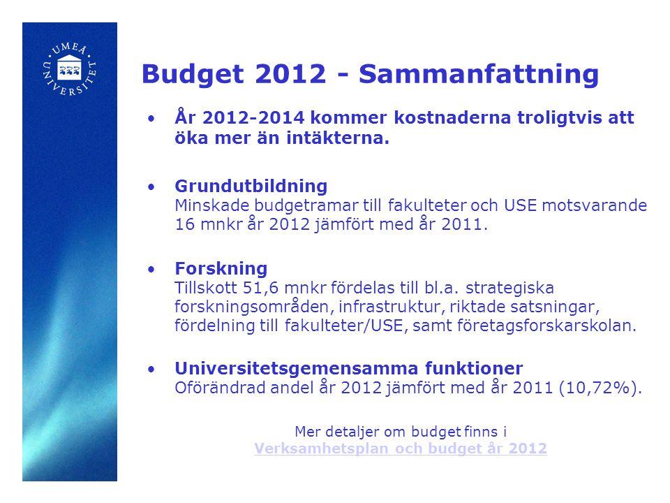 Budgetproposition år 2012 FO/FOU: UmU erhåller 19,8 mnkr (av totalt 300 mnkr), samt 2,8 mnkr i omfördelning (mest av alla lärosäten i riket).