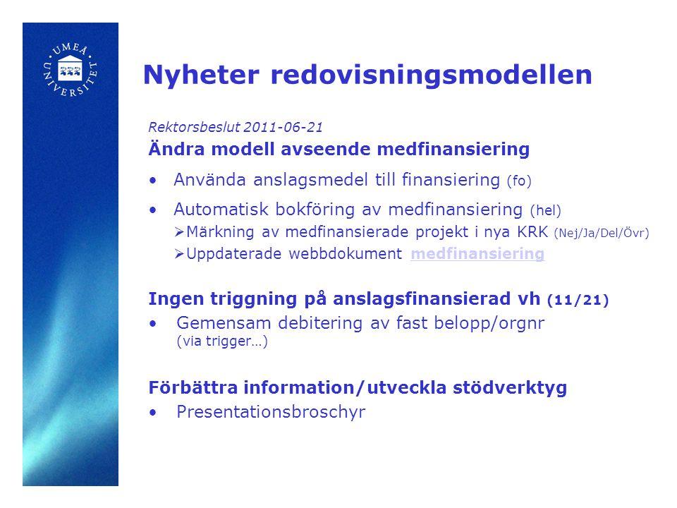 Nyheter redovisningsmodellen Rektorsbeslut 2011-06-21 Ändra modell avseende medfinansiering •Använda anslagsmedel till finansiering (fo) •Automatisk bokföring av medfinansiering (hel)  Märkning av medfinansierade projekt i nya KRK (Nej/Ja/Del/Övr)  Uppdaterade webbdokument medfinansieringmedfinansiering Ingen triggning på anslagsfinansierad vh (11/21) •Gemensam debitering av fast belopp/orgnr (via trigger…) Förbättra information/utveckla stödverktyg •Presentationsbroschyr