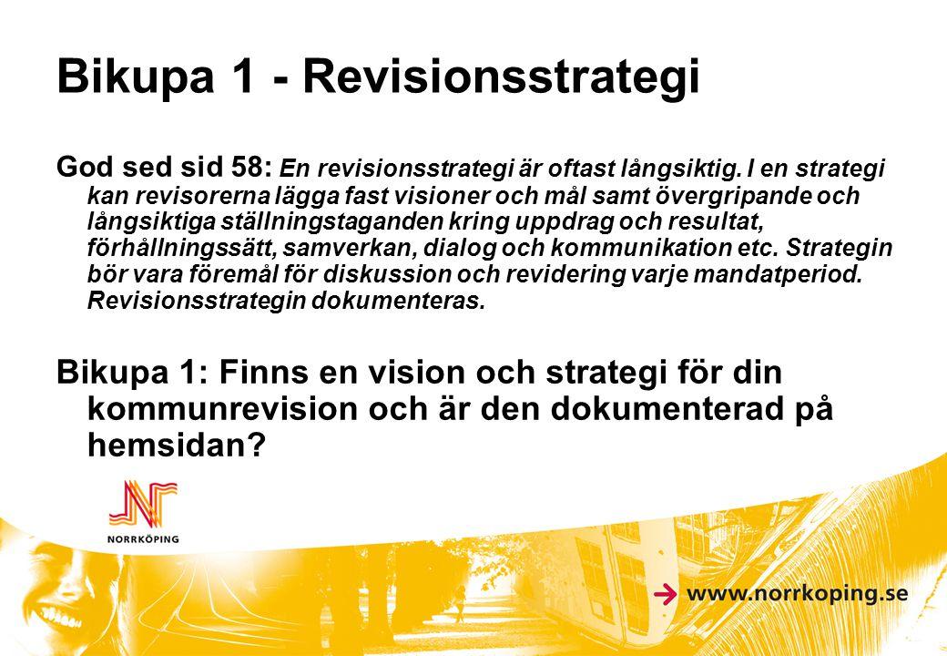 Bikupa 1 - Revisionsstrategi God sed sid 58: En revisionsstrategi är oftast långsiktig. I en strategi kan revisorerna lägga fast visioner och mål samt