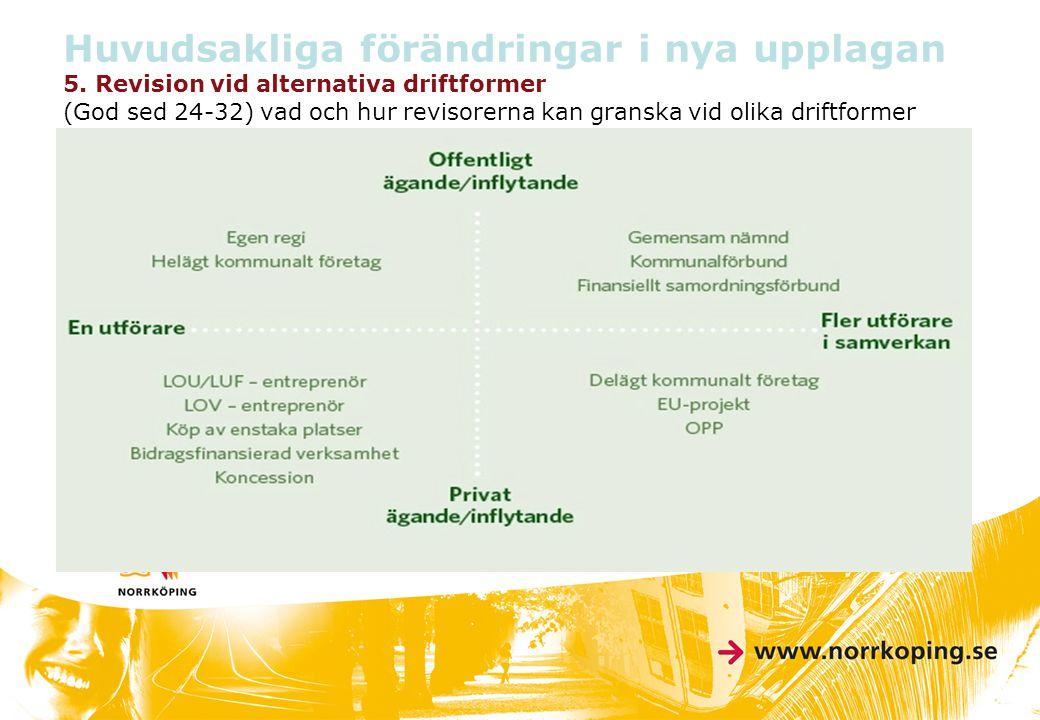 Huvudsakliga förändringar i nya upplagan 5. Revision vid alternativa driftformer (God sed 24-32) vad och hur revisorerna kan granska vid olika driftfo