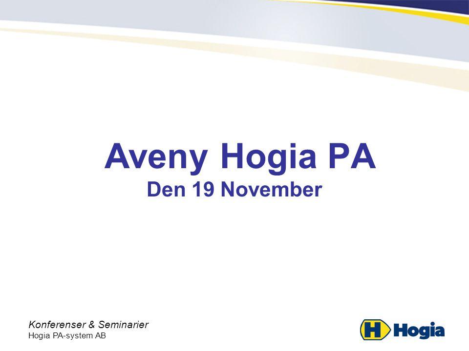 Konferenser & Seminarier Hogia PA-system AB Särskild löneskatt •2003-2006 återbetalning av särskild löneskatt •Gäller för uppdragstagare och förtroendevalda •Födda 1937 eller tidigare •31/12 är sista ansökningsdag för återbetalning gällande 2003