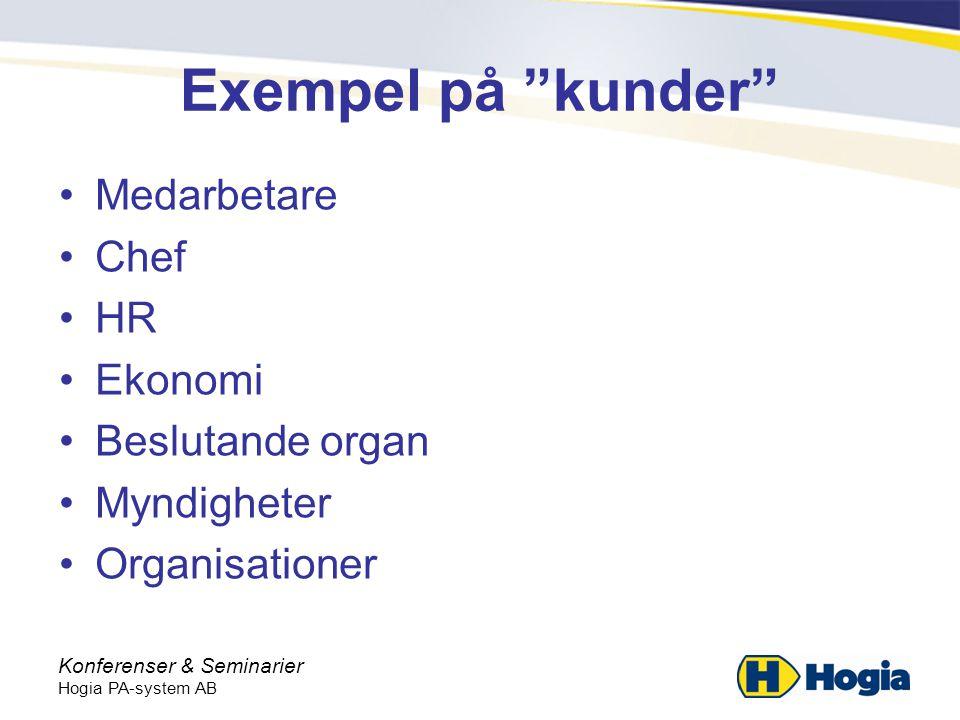 Konferenser & Seminarier Hogia PA-system AB Exempel på kunder •Medarbetare •Chef •HR •Ekonomi •Beslutande organ •Myndigheter •Organisationer