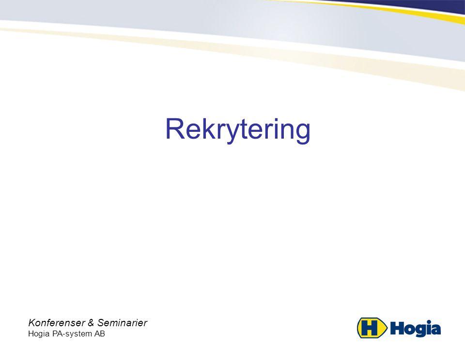 Konferenser & Seminarier Hogia PA-system AB Rekrytering