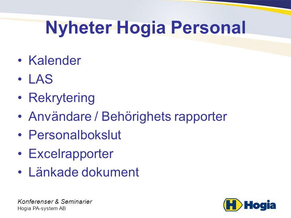 Konferenser & Seminarier Hogia PA-system AB Nyheter Hogia Personal •Kalender •LAS •Rekrytering •Användare / Behörighets rapporter •Personalbokslut •Excelrapporter •Länkade dokument