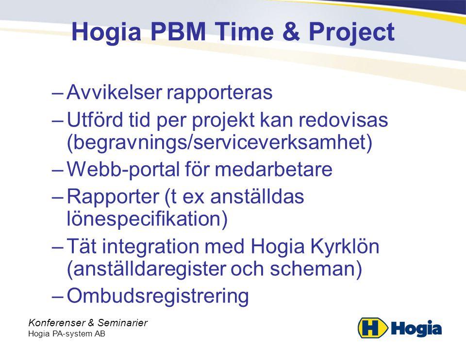 Konferenser & Seminarier Hogia PA-system AB Hogia PBM Time & Project –Avvikelser rapporteras –Utförd tid per projekt kan redovisas (begravnings/serviceverksamhet) –Webb-portal för medarbetare –Rapporter (t ex anställdas lönespecifikation) –Tät integration med Hogia Kyrklön (anställdaregister och scheman) –Ombudsregistrering