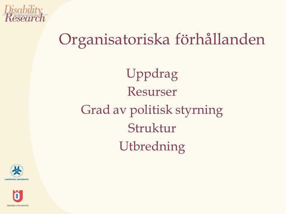 Organisatoriska förhållanden Uppdrag Resurser Grad av politisk styrning Struktur Utbredning