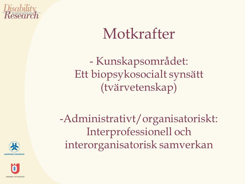 Motkrafter - Kunskapsområdet: Ett biopsykosocialt synsätt (tvärvetenskap) -Administrativt/organisatoriskt: Interprofessionell och interorganisatorisk