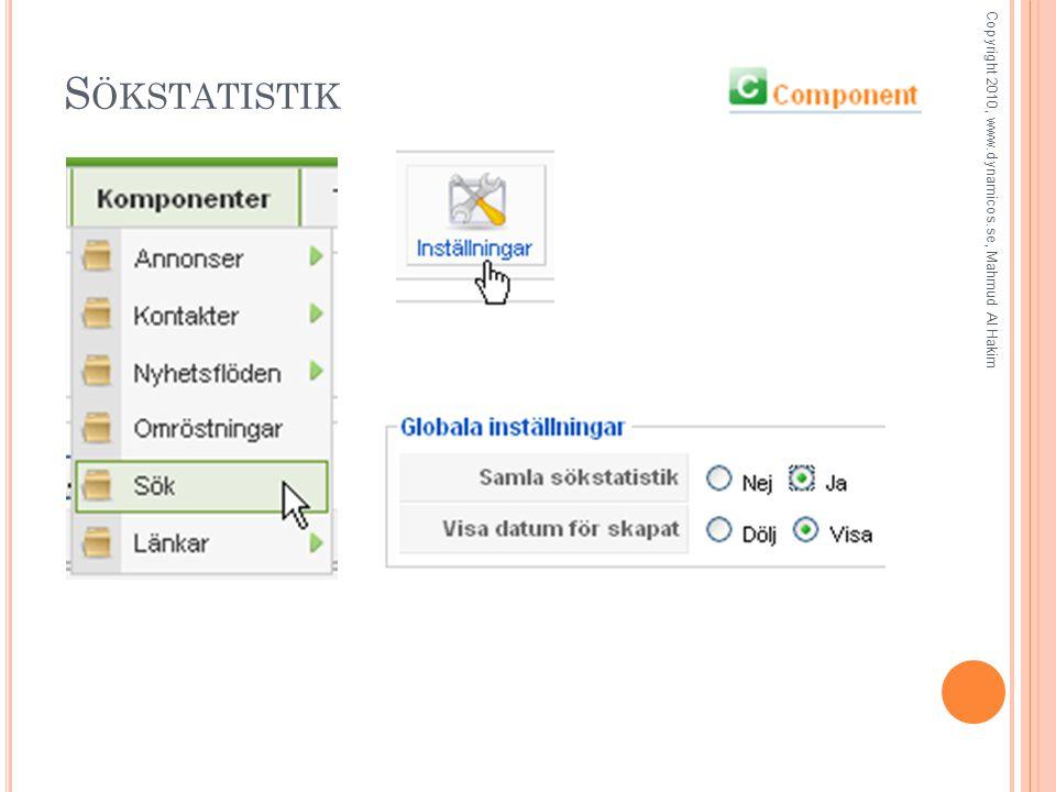 S ÖKSTATISTIK Copyright 2010, www.dynamicos.se, Mahmud Al Hakim