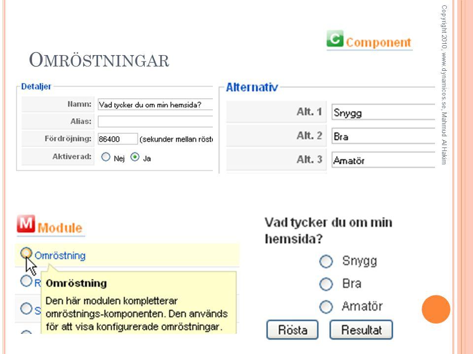 O MRÖSTNINGAR Copyright 2010, www.dynamicos.se, Mahmud Al Hakim