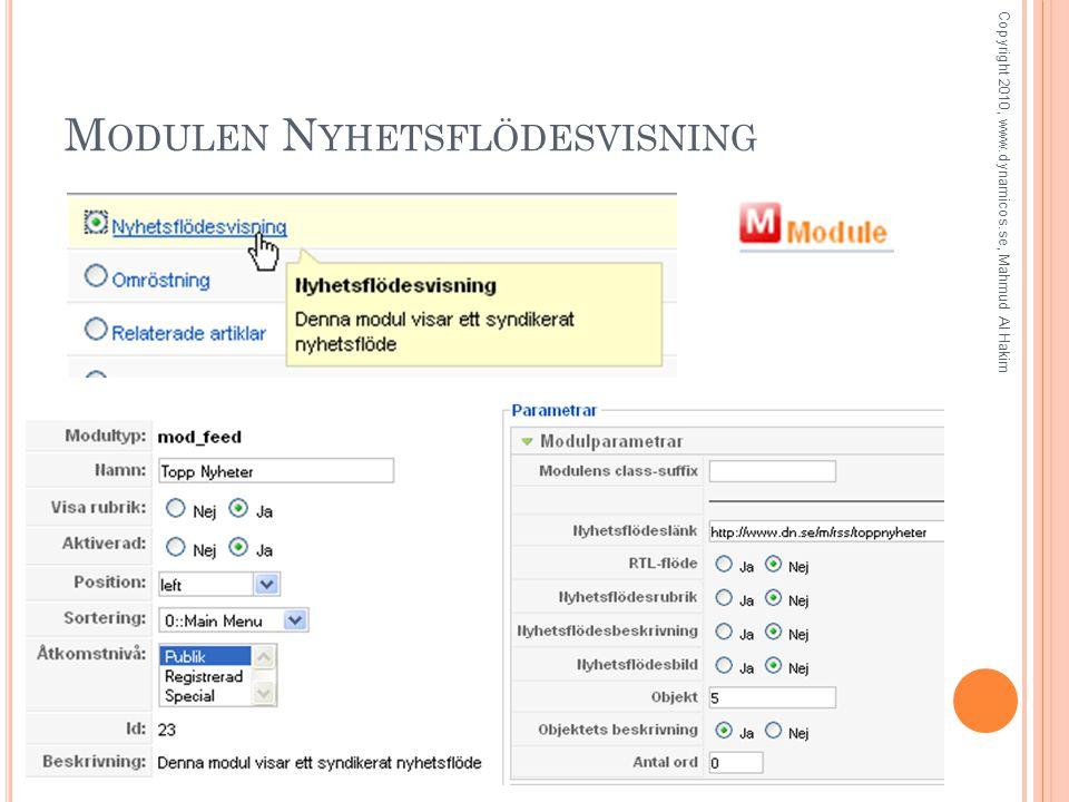 M ODULEN N YHETSFLÖDESVISNING Copyright 2010, www.dynamicos.se, Mahmud Al Hakim