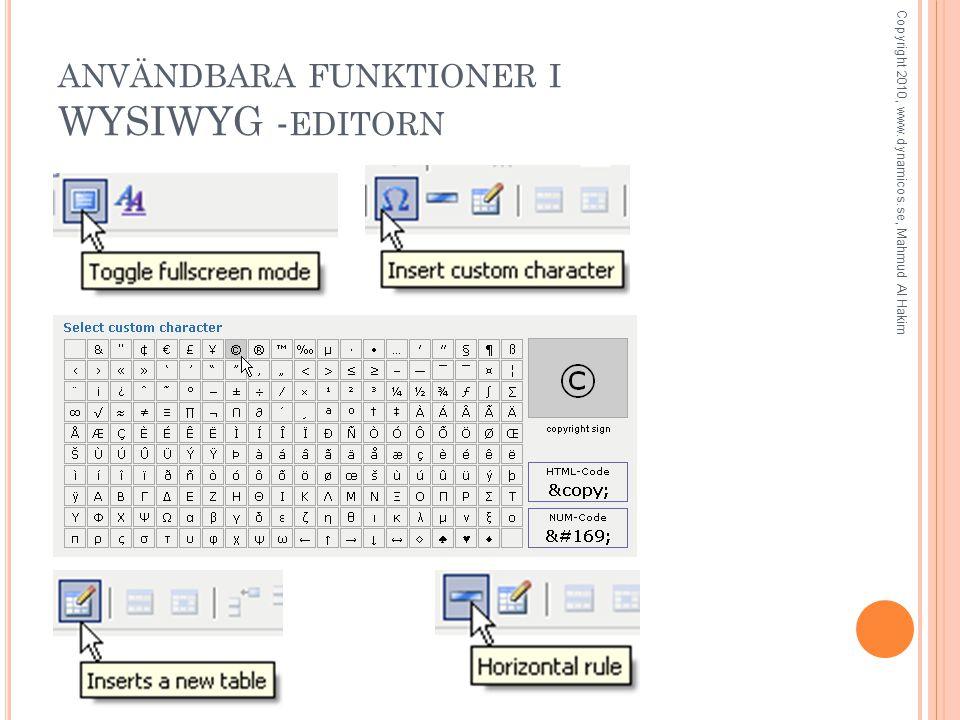 ANVÄNDBARA FUNKTIONER I WYSIWYG - EDITORN Copyright 2010, www.dynamicos.se, Mahmud Al Hakim