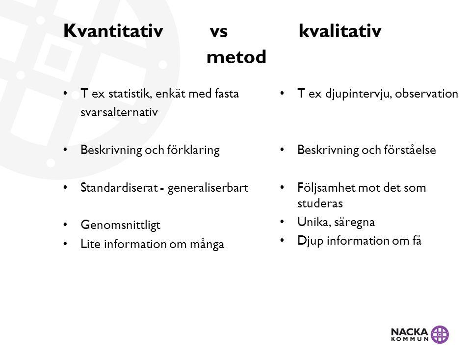 Kvantitativ vskvalitativ metod • T ex statistik, enkät med fasta svarsalternativ • Beskrivning och förklaring • Standardiserat - generaliserbart • Gen