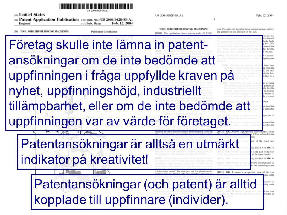 11 Företag skulle inte lämna in patent- ansökningar om de inte bedömde att uppfinningen i fråga uppfyllde kraven på nyhet, uppfinningshöjd, industriel