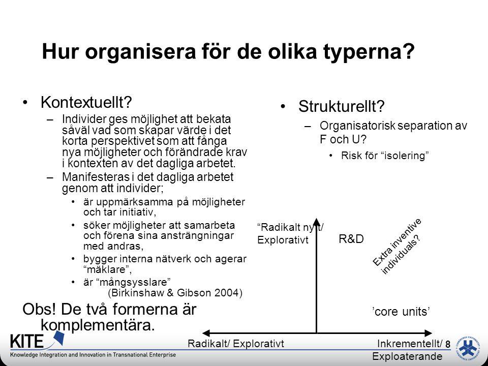 8 R & D Hur organisera för de olika typerna? •Kontextuellt? –Individer ges möjlighet att bekata såväl vad som skapar värde i det korta perspektivet so
