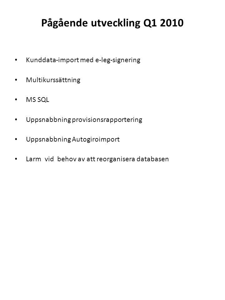 Pågående utveckling Q1 2010 • Kunddata-import med e-leg-signering • Multikurssättning • MS SQL • Uppsnabbning provisionsrapportering • Uppsnabbning Au