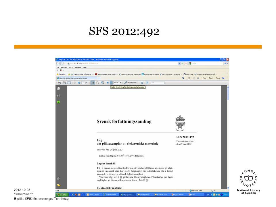 Sidnummer 2012-10-25 E-plikt: SFIS Mellansveriges Teknikdag 2 SFS 2012:492