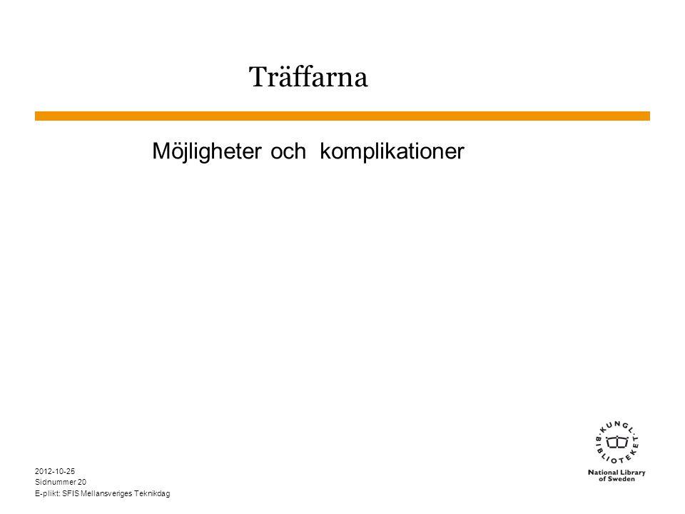 Sidnummer 2012-10-25 E-plikt: SFIS Mellansveriges Teknikdag 20 Träffarna Möjligheter och komplikationer