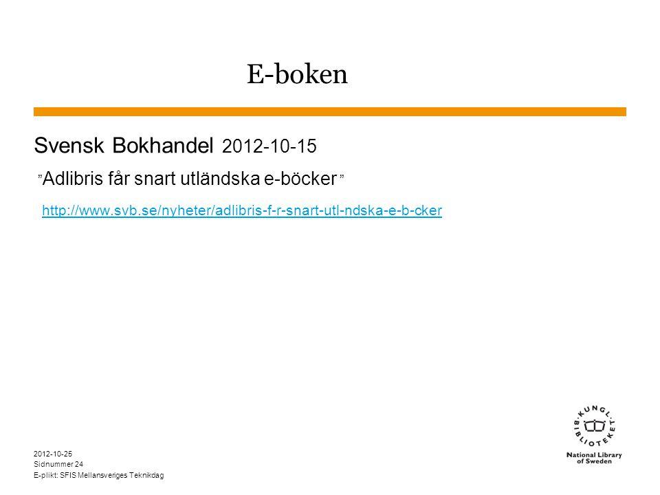 Sidnummer 2012-10-25 E-plikt: SFIS Mellansveriges Teknikdag 24 E-boken Svensk Bokhandel 2012-10-15 Adlibris får snart utländska e-böcker http://www.svb.se/nyheter/adlibris-f-r-snart-utl-ndska-e-b-cker